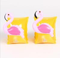 faixa de braço nadar venda por atacado-Dos desenhos animados crianças flamingo nadar braço anel ins Crab arm band bonito bebê flutuando brinquedo flutuante anéis de braço flutuante