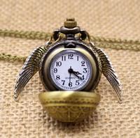 şık damla kolye toptan satış-Ücretsiz Drop Shipping Zarif Altın Snitch Kuvars Fob Pocket saat Kazak Kolye Zinciri Ile