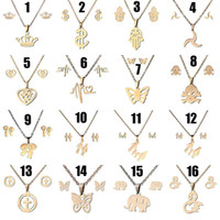 Wholesale gold elephant earrings - Stainless Steel Heartbeat Crown Heart Butterfly Elephant Cross Necklace Stud Earrings Jewelry sets Gold Chain Jewelry DROP SHIP 162624