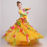 vestido de dança do ventre amarelo venda por atacado-Espanhola Tourada Dança Do Ventre Saia Vestido Longo robe Flamenco fille Saias amarelo Flamenco Vestidos Para As Mulheres Meninas