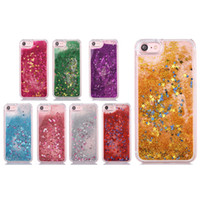 Wholesale chinese float - For Iphone X Water Glitter Cases Quicksand Gel Case For Samsung Note 8 S8 3D Liquid Case Soft TPU Floating Glitter Star Case OPP Bag
