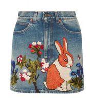 Wholesale Embroidery Denim Skirts - 2018 Topest quality 1:1 spring luxury brand designer Dress Runway skirt Velvet rabbit embroidered Women's embroidered mini skirts