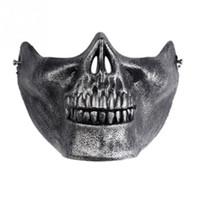 máscara de media cara del cráneo del airsoft al por mayor-1 unids Skull Skeleton Máscaras Horror del regalo Aficionados del ejército Props Stage Airsoft Paintball Half Face máscara protectora para Halloween