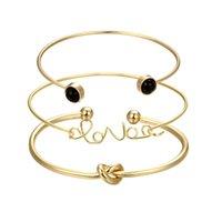 ingrosso braccialetti nodi in metallo-Fashion Knot Bangle Bracciali Lega d'oro in metallo Trendy Love parola donne polsini braccialetti gioielli bijoux Accessori