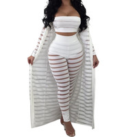 ingrosso grandi tute da ballo-Big Size S-3xl Summer Tuta Hollow Out Stripe Tuta Sexy Women Set Tre pezzi Tute Tuta Casual Nightclub Wear