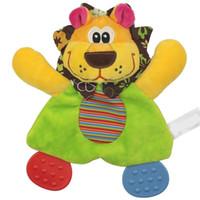 lindos juguetes de leon de bebe al por mayor-Lindo bebé infantil de peluche de juguete, toalla de confort, con papel de sonido y mordedor, bebé, toalla suave, bebé, mordedor, león, perro, niña
