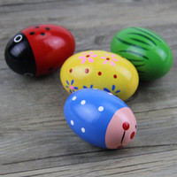 Wholesale Kids Wooden Musical Instruments - Colorful Kids Wooden Maracas Ball Baby Child Musical Instrument Percussion Egg Shaker Children Fun Gift Toy Musical Egg