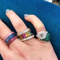 joyas llenas de oro del arco iris al por mayor-Rainbow baguette cubic zirconia cz oro lleno anillo de compromiso para las mujeres EE. UU. venta caliente envío de la gota joyería femenina L18100707