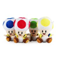 Wholesale toys children mario bros online - 17cm Mushroom Plush Toy Multicolor Mario Bros Toad Soft Cotton Suffed Doll Novelty Children Christmas Gift gf YY