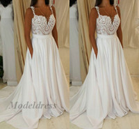 Wholesale bodice style tops for sale - 2018 New Arrival Wedding Gowns with Pocket A Line Spaghetti Straps Lace Tops Sweep Train Country Style Wedding Dresses vestido de noiva