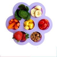 ingrosso utensili per alimenti per bambini-7 fori baby food box creativi stampi in silicone fai da te riutilizzabile congelato fresco conservazione vassoio con coperchio cottura strumento 11 5yc y