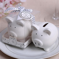 Wholesale Favor Bows - Baby shower favors Ceramic Mini Piggy Bank in Gift Box with Polka-Dot Bow Wedding Favors and gifts 100Pcs