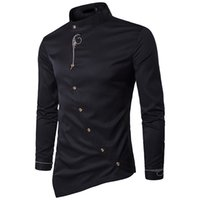 ropa de camarero al por mayor-Nuevo 2018 primavera Otoño bordado irregular botón oblicuo traído de alto grado Hotel Waiter hombres ropa camisa camisas sociales