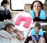Wholesale pillow head rest car - U Pillow Inflatable Soft Car Travel Head Neck Rest Air Cushion U Pillow Sleep Cushion BBA131