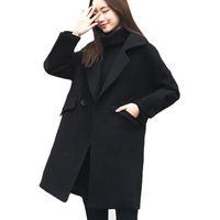 casacos de lã preto longo de lã venda por atacado-Casaco De Lã De inverno Mulheres 2018 Gota-ombro Casual 3/4 Mangas Preto Elegante Casaco Básico Das Mulheres Casaco de Lã Longo Plus Size XL-5XL