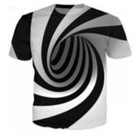 blousons blancs femmes achat en gros de-Noir et blanc Vertigo Hypnotic Tees T-shirt décontracté Hommes Femmes 3D Print manches courtes Col rond T-shirt Undershirt Fitness Tops