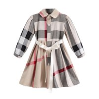 Wholesale baby dress online - plaid dress NEW styles autumn Girls lapel European and American Wind long sleeve cotton baby kids big plaid casual cardigan dress