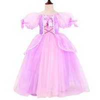 vestido de fiesta de halloween disfraz al por mayor-Niñas Rapunzel Princess Dress Up Cosplay Traje Kids Puff Sleeve 6 capas Enredado Vestidos de fiesta para Navidad Halloween Ball Hown7H30
