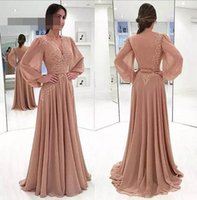 Wholesale lantern beads - Lantern Sleeve A-Line Chiffon Mother of the Bride Dresses V Neck Lace With Back Elegant Mother's Dresses