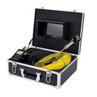câmeras de inspeção subaquática venda por atacado-Sistema subaquático da câmera da inspeção da tubulação da câmera da inspeção do CCTV do cabo da fibra de vidro de 20M com o monitor de 7 polegadas