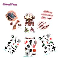 Halloween Temporary Tattoo sticker Skeleton Wiked Fake Tattoos Bat Cross  Face Pattern FingerTaty Body Makeup Flash Sticker