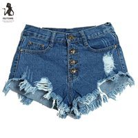Wholesale cheap woman jeans - Feitong Casual Women Denim Shorts Summer Female Women's Fashion Slim Fit Board Holes Rippped Cheap High Waisted Jeans Shorts