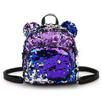 Wholesale Colourful Bags - Cute Sequins Colourful Famous Design Casual Backpack Multifunction Soft Comfortable Fashion Travel Bag PU Leather Girls Backpack