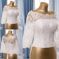 Wholesale shrugs resale online - Cheap Ivory Wedding Wraps Lace Off The Shoulder Half Sleeve Short Bridal Jackets White Shawl Coats Wedding Accessories Shrugs Covered Button