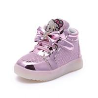 merhaba sporlar toptan satış-2018 Karikatür hello kitty bebek kız ışıkları ayakkabı LED parlayan bebek rahat ayakkabılar kısa çizmeler çocuklar spor prenses