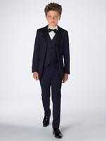 Attractive Boy Attire Tuxedos Complete Designer Notch Lapel Formal Children Clothing For Wedding Party Suits (Jacket+Pants+Bow+Vest)