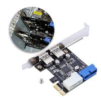 pci e ide toptan satış-Yeni USB 3.0 PCI-E Genişleme Kartı Adaptörü Harici 2 Port USB3.0 Hub Dahili 19pin Header PCI-E Kart 4pin IDE Güç Konektörü