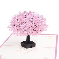 ingrosso nuove carte pop up-50PCS 3D Pop Up Cherry Blossoms Greeting Card Biglietto di compleanno Matrimonio Natale Capodanno Anniversario Event Invitation Card