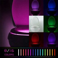 Wholesale Led Body Lights Wholesale - LED Toilet Light 8 Colors toilet motion activated Bathroom Human Body Auto Motion Activated Sensor Seat Light Night
