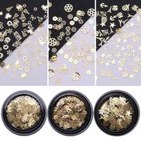 ingrosso ornamenti di fiocco di neve oro-Metal Christmas Nail Rhinestone Decorazione Snowflake Bell Ring Wheel 3D Nail Art Decoraions Suggerimenti Gold Star DIY Gel UV Manicure