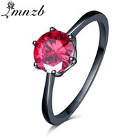 черные обручальные кольца оптовых-LMNZB Top Fashion Black Gold Filled 1 Purple/Red CZ Zircon Rings For Women Fashion Engagement Wedding Jewelry Rings LZR814