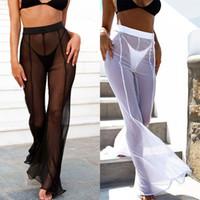 moda saf mayo toptan satış-Kadınlar Uzun Pantolon 2018 Yeni Moda Bayan Plaj Mesh Sheer Bikini Mayo Şeffaf Uzun Pantolon Pantolon
