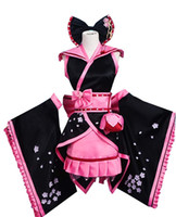 schwarzer cosplay kimono groihandel-Cosplay Schwarz Sakura Kimono Kleid Cosplay Kostüm