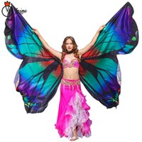 capa de mariposa al por mayor-2018 Performance Women Dancewear Bellydance Props poliéster Cape Cloak Dance Fairy Wing Belly Dance Butterfly Wings adultos