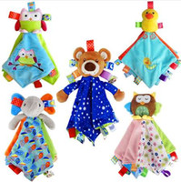 Wholesale baby bedding comforters - Soft Animal Appease Towel Baby Plush Rattle Blankie of Infant Comforter Appease Toys Bed Sleep Animal Cloth Blanket Cartoon Toys