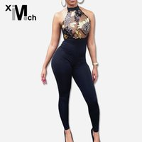 Wholesale Halter Mesh Jumpsuit - xiM&M@ch New Sexy Black Jumpsuits Halter-neck Backless Back Zipper Spangle Mesh Patchwrok Stretch Jumpsuits JM03518E