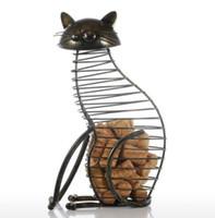 künstliche tiere heimdekorationen großhandel-Metall Katze Figuren Weinkorken Container Moderne Stil Eisen Handwerk Geschenk Künstliche Tier Mini Dekoration Zubehör