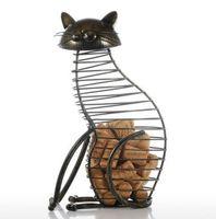 künstliche tiere heimdekorationen großhandel-Metall Katzenfiguren Weinkorken Container Modernen Stil Eisen Handwerk Geschenk Künstliche Tier Mini Dekoration Zubehör