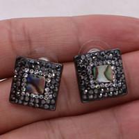 ingrosso monili quadrati neri del branello-5 paia di orecchini di abalone naturali quadrati di conchiglia perline di pietra nera orecchini druzy gemme all'ingrosso per le donne