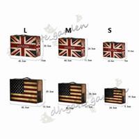 eski moda dekor toptan satış-İngiltere Amerika Bayrağı Tarzı Vintage Bavul Saklama Kutusu Eski moda Dekor Deri Ahşap Zakka Durumda takı Organizatör