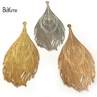 plumas de pavo real de metal al por mayor-BoYuTe 10Pcs 83 * 38MM Plumas grandes del pavo real Hoja de metal Oro de plata Diy colgante de los encantos para la fabricación de la joyería