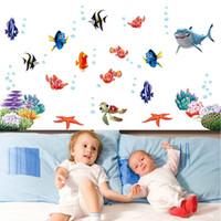 unterwasser-wandmalereien für großhandel-Unterwasserwelt Verschiedene Fische Ozean DIY Wandaufkleber Tapete Kunst Dekor Wandbild Zimmer Aufkleber Dekoration