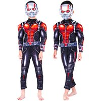 trajes de formigas venda por atacado-Homem formiga Traje Músculo Criança Meninos Costume homem Cosplay para Meninos Halloween para Crianças Fancy Dress com Máscaras