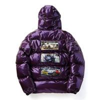 ingrosso giacche lucide-Uomo inverno caldo Parka con cappuccio 2019 Hip Hop lucido Patchwork cotone imbottito giacche di spessore Cappotti moda Streetwear Parka