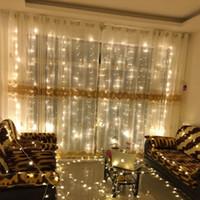 cortinas de cascada al por mayor-Iluminación LED Cortinas de ventana Cascada de hielo Cascada Feliz Navidad Suministros Festivo Fiesta de cumpleaños Decoración Lámpara Cuerda Color puro 26ly bb
