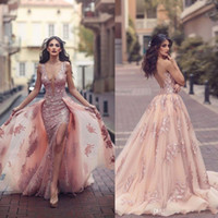 Wholesale Blue Winter Cape - Saudi Arabic Overskirt Mermaid Evening Dresses 2018 New Design Blush Sheer Backless V Neck Appliques with Capes Long Prom Party Split Gowns